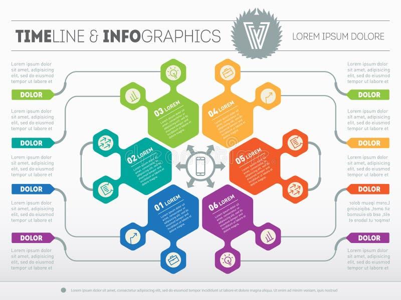 Netz-Schablone für den Kreis infographic, Diagramm oder Darstellung BU vektor abbildung