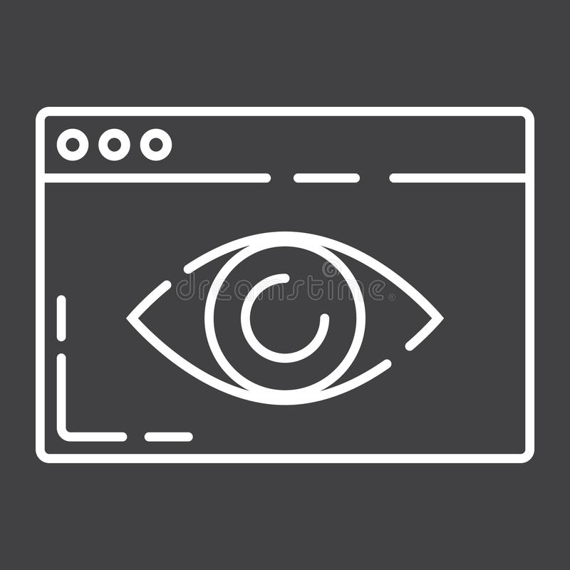 Netz-Sichtlinie Ikone, seo und Entwicklung stock abbildung