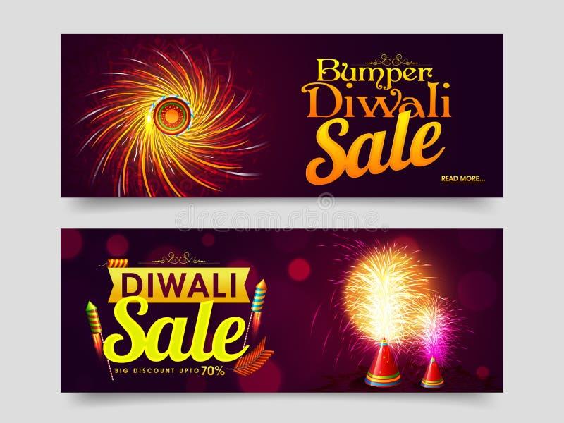 Netz-Titel oder Fahne für Diwali-Verkauf lizenzfreie abbildung