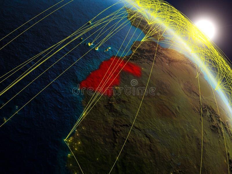 Netz um Westsahara vom Raum lizenzfreie abbildung