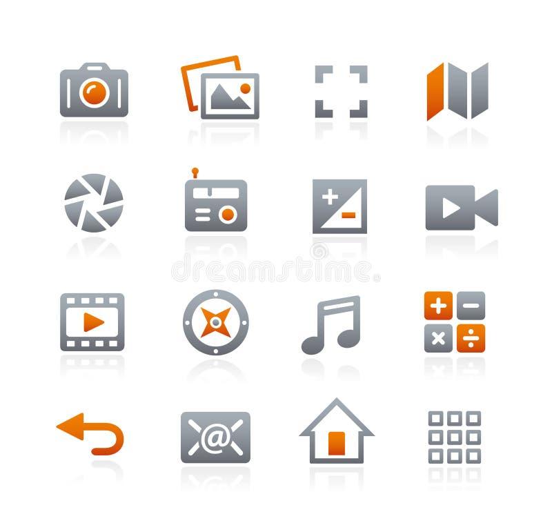 Netz und bewegliche Ikonen 5 -- Graphit-Reihe lizenzfreie abbildung