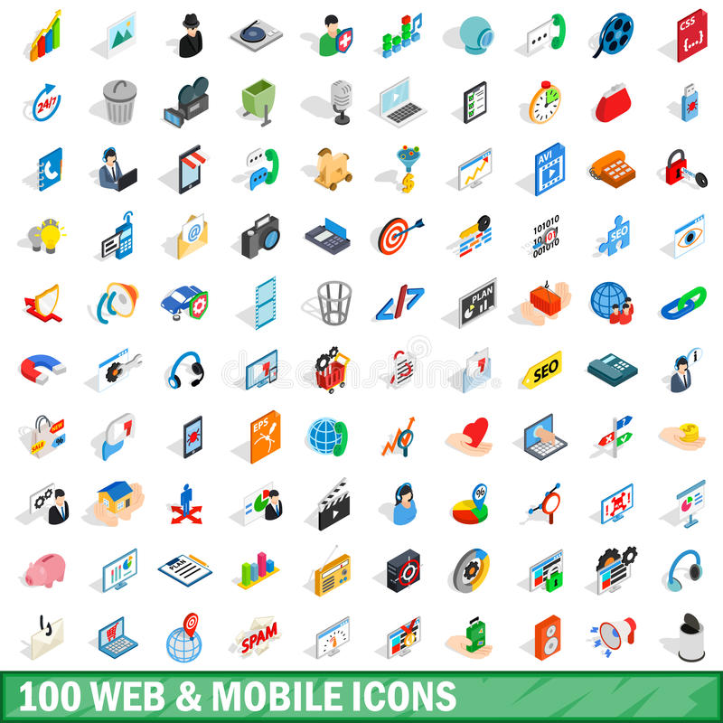 Netz 100 und bewegliche Ikonen stellten, isometrische Art 3d ein lizenzfreie abbildung