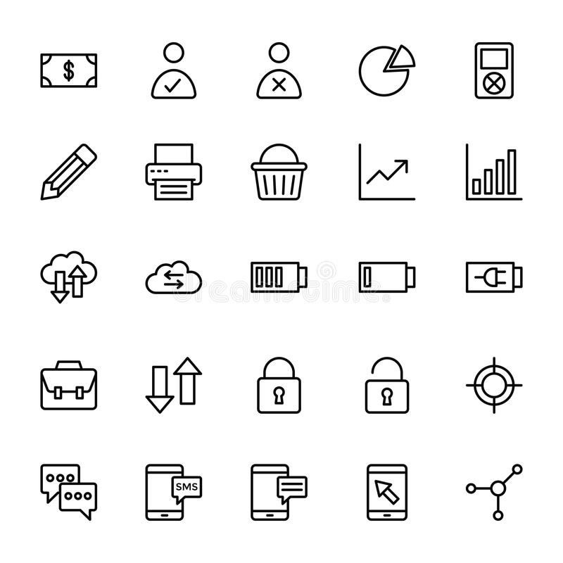 Netz und bewegliche UI-Linie Vektor-Ikonen 6 lizenzfreie abbildung