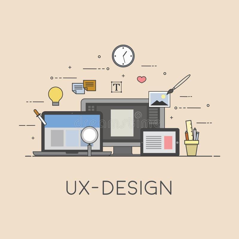 Netz und bewegliches Design UX-Design Prozess des Designs Flaches Design lizenzfreie abbildung