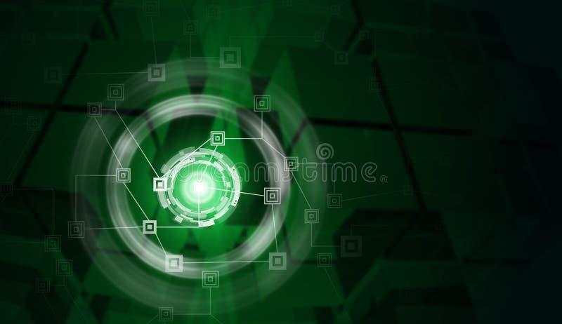 Netz und Glühen kreist mit Glaswürfel wie ein lizenzfreie stockbilder