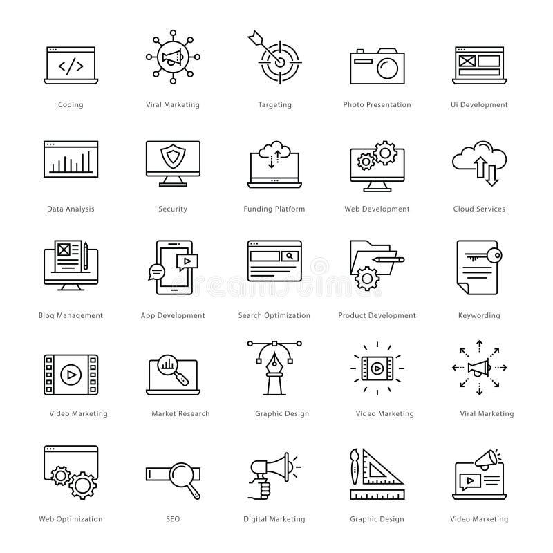 Netz und SEO Line Vector Icons 1 stock abbildung