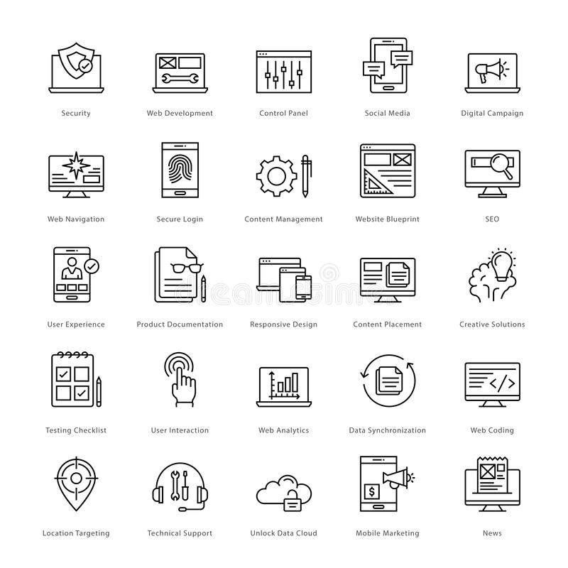 Netz und SEO Line Vector Icons 3 stock abbildung