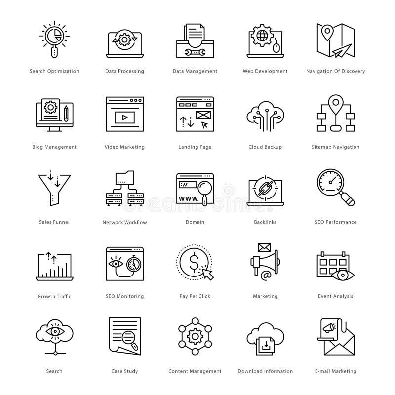 Netz und SEO Line Vector Icons 51 lizenzfreie abbildung