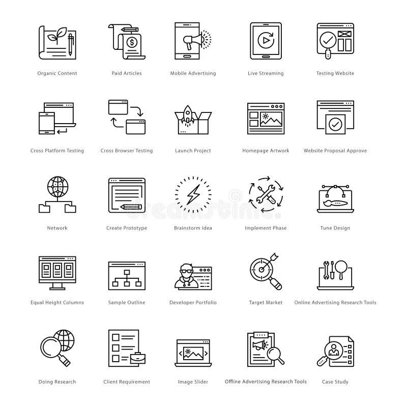 Netz und SEO Line Vector Icons 30 vektor abbildung