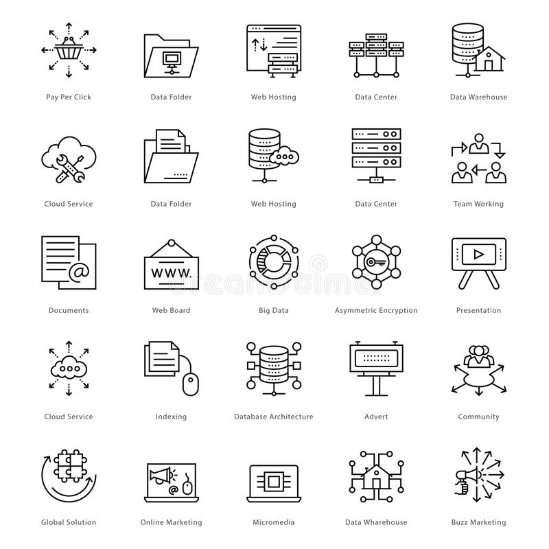 Netz und SEO Line Vector Icons 48 vektor abbildung