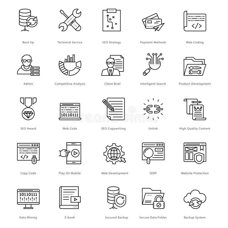 Netz und SEO Line Vector Icons 24 stock abbildung