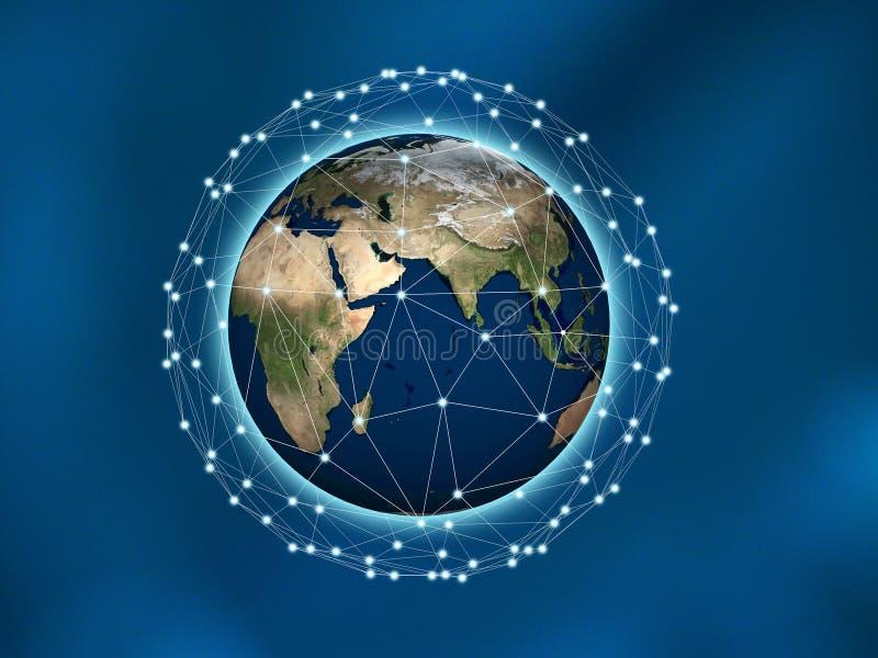 Netz-und Verbindungs-Technologie-Konzept der Welt, Sozialne stock abbildung