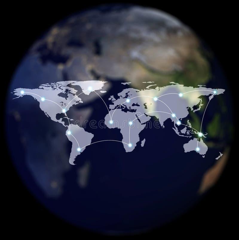 Netz-und Verbindungs-Technologie-Konzept der Weltkarte lizenzfreie abbildung