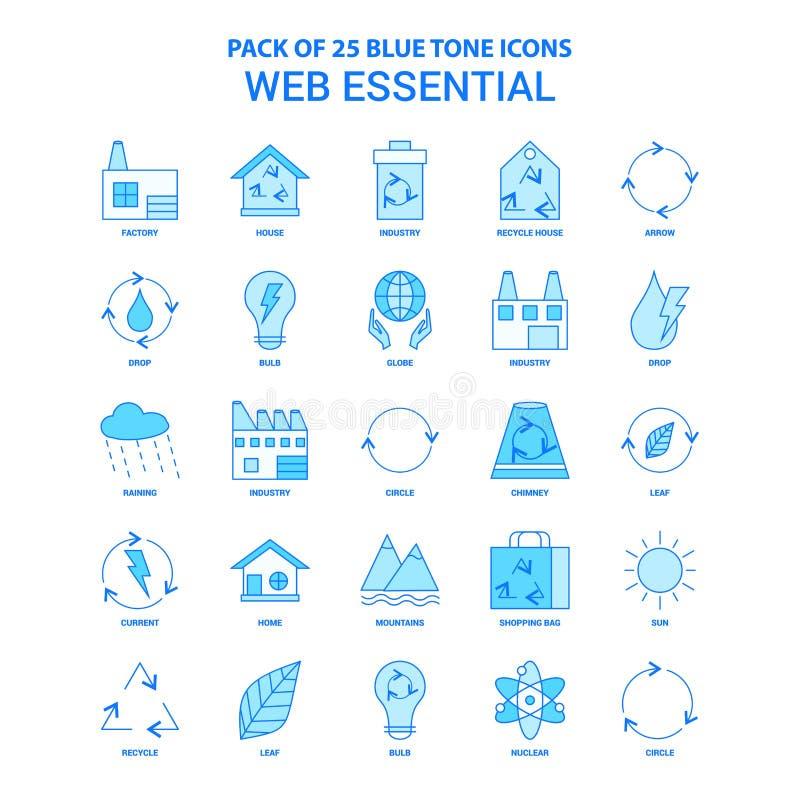 Netz wesentliche blaue Tone Icon Pack - 25 Ikonen-Sätze vektor abbildung