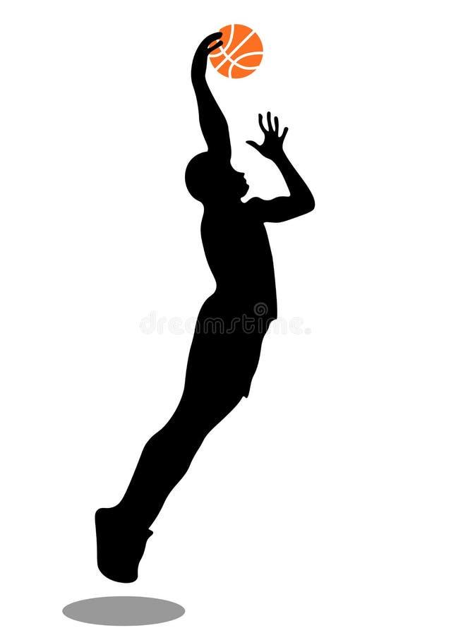 Netz wirft Basketball-Spieler in den Schattenbildern auf Flache Illustration des Vektors lokalisiert auf wei?em Hintergrund vektor abbildung