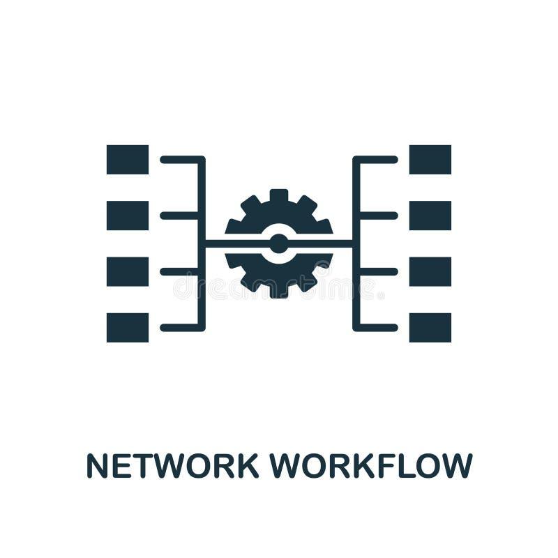 Netzarbeitsflussikone Einfarbiger Artentwurf von der großen Datenikonensammlung Ui Piktogramm-Netzarbeitsfluß des Pixels perfekte lizenzfreie abbildung