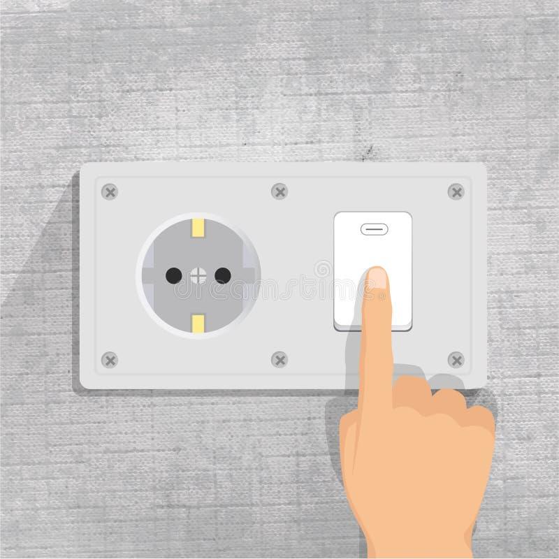 Netzdose Heller Schalter Finger, der Lichtschalterknopf drückt stock abbildung