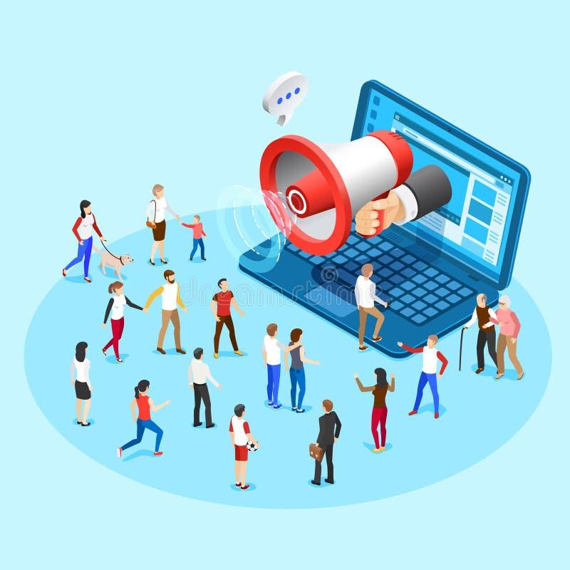 Netzförderungsmarketing Werbungssocial media-Megaphon-Sendungsanzeigen vom Laptopschirm vector isometrisches Konzept lizenzfreie abbildung
