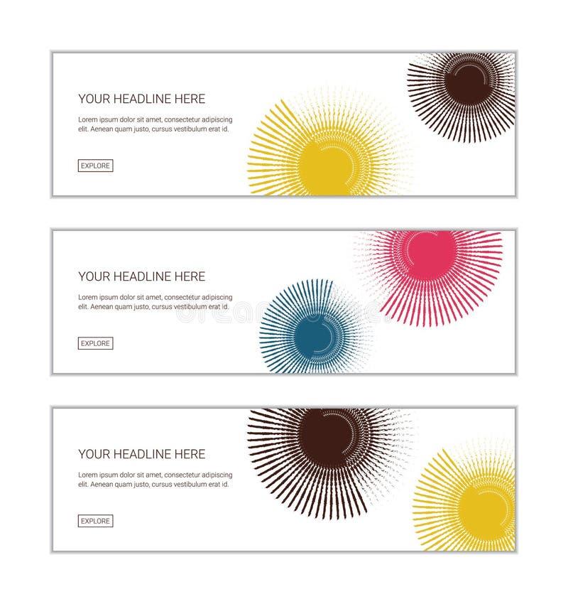 Netzfahnen-Entwurfsschablone stellte das Bestehen aus den abstrakten Hintergründen ein, die mit Bürstenanschlägen gemacht wurden lizenzfreie abbildung