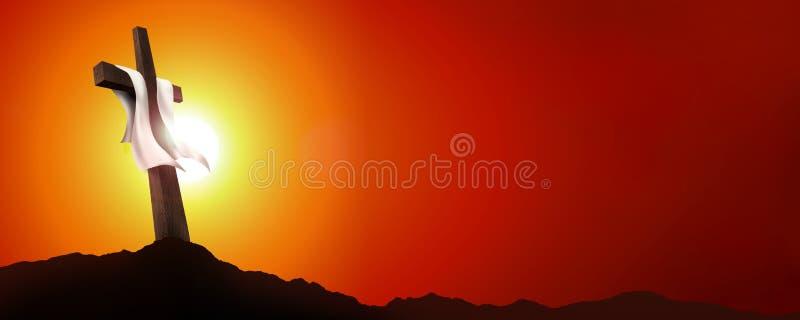 Netzfahnenauferstehung oder -kreuzigung Leere Landschaft mit Kreuz bei Sonnenuntergang Christian Easter-Konzept Abbildung 3D stock abbildung