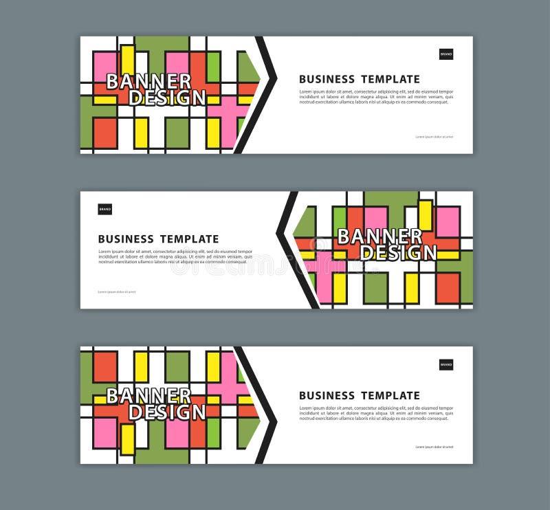 Netzfahnenentwurfsschablonen-Vektorillustration, geometrischer Hintergrund, abstrakte Beschaffenheit, advetisement Plan stock abbildung