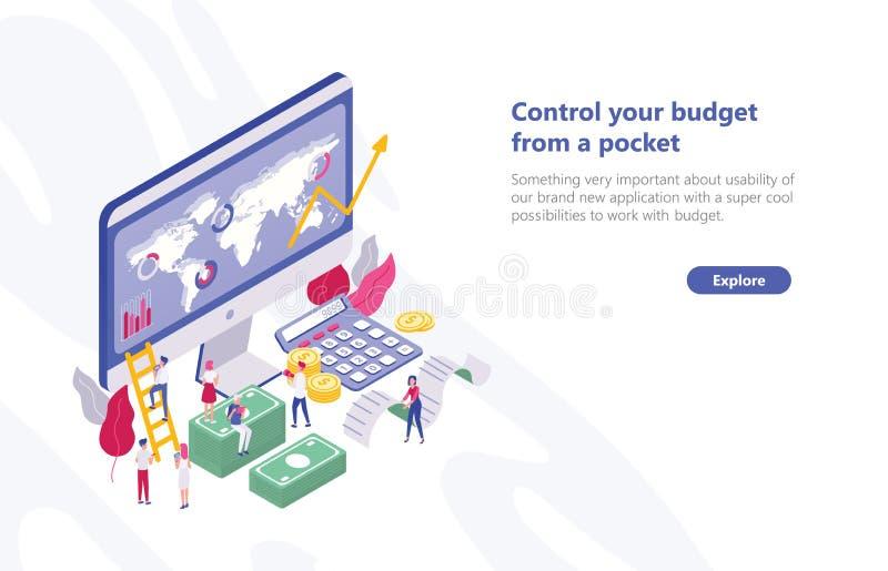 Netzfahnenschablone mit den kleinen Leuten, die nahe Computer mit APP für Budgetplanung, Sitzen auf Haushaltplänen gehen stock abbildung