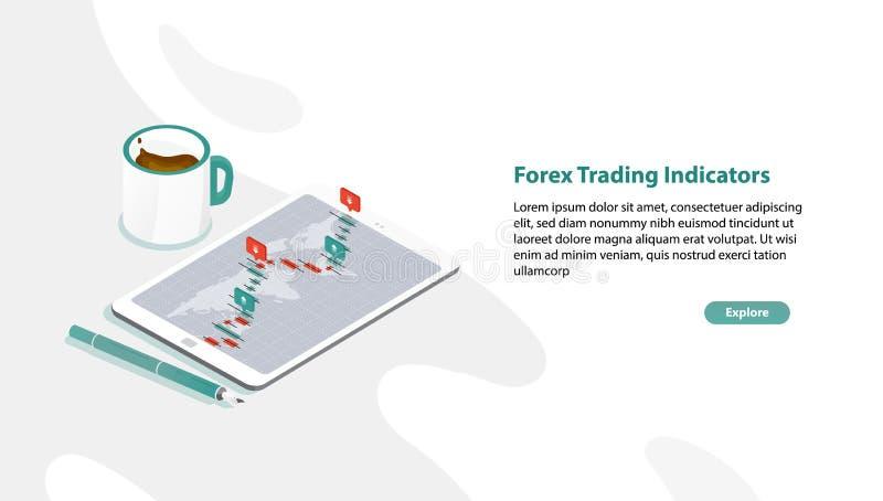 Netzfahnenschablone mit Tablet-PC- und Devisenmarktratendiagramm oder Devisenhandelsindikatoren auf Schirm, Stift stock abbildung