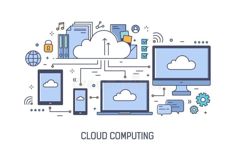 Netzfahnenschablone mit vernetzten elektronischen Geräten Komputertechnologie der Wolke, Informationen oder Aktenspeicherung, Dat stock abbildung