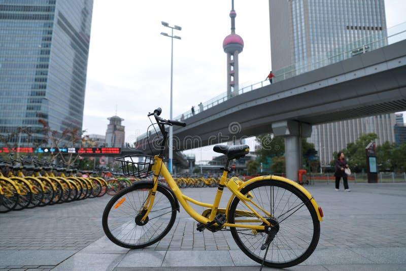 Netzfahrrad in dem Finanzzentrum Shanghais Lujiazui stockbild