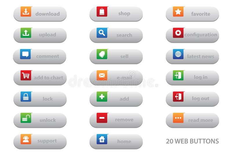 20 Netzknöpfe mit flachem Grafikdesign für Ihre beste Geschäftswebsite lizenzfreie abbildung