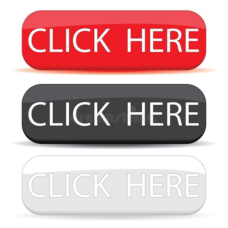 Netzknopf klicken hier eingestellt lizenzfreie abbildung