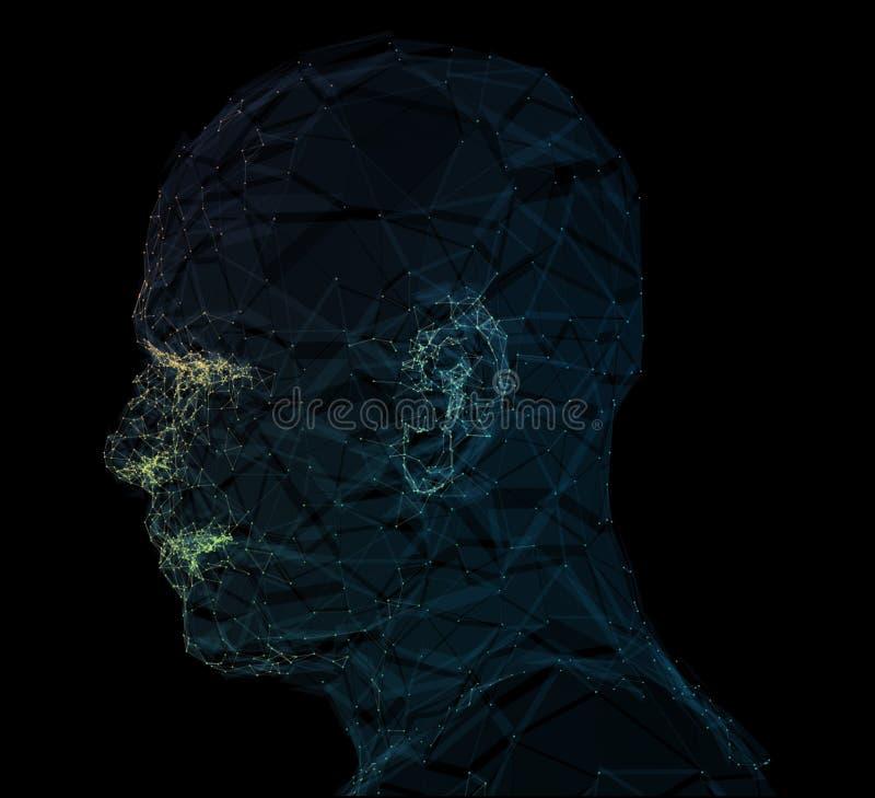 Netzlinie Zusammenfassungshintergrund des menschlichen Kopfes Abbildung 3D lizenzfreie abbildung