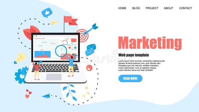Netzschablone Konzept f?r vermarktende Agentur Digital, flache Vektorillustration der digitalen Medienkampagne stock abbildung