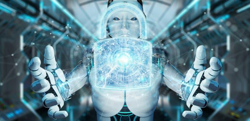 Netzsicherheitsschutzschnittstelle benutzt durch Wiedergabe des Roboters 3D vektor abbildung