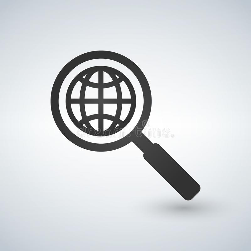 Netzsuchikone Schattenbildsymbol Lupe mit Kugel Auch im corel abgehobenen Betrag lizenzfreie abbildung