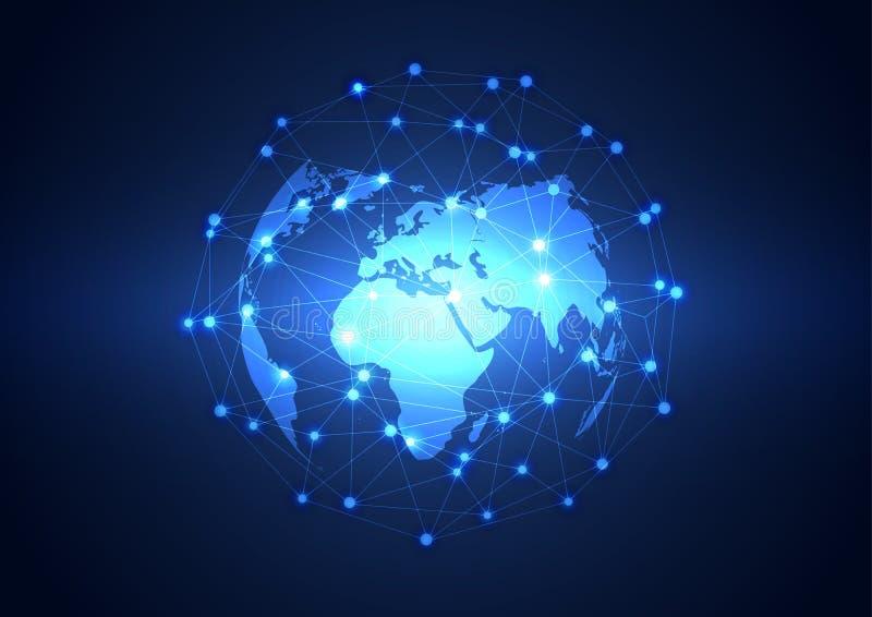 Netztechnikhintergrund des globalen Geschäfts, Vektor lizenzfreie abbildung