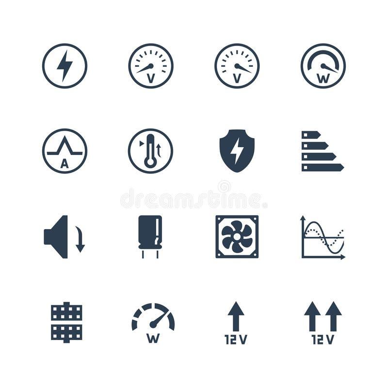 Netzteil oder Netzteil für Desktop-Computer-Icons Schutz und Funktionen stock abbildung