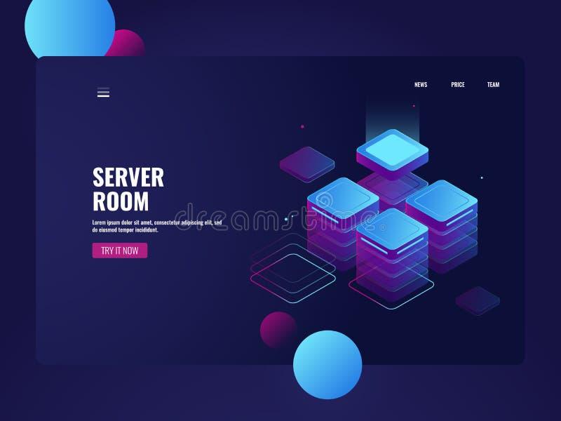 Netzwerk-Server-Raum und datacenter isometrischer Vektor, Wolkendatenspeicherung, große Daten verarbeitend, Technologiegegenstand lizenzfreie abbildung