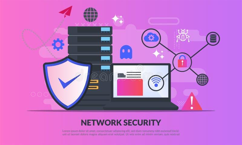 Netzwerksicherheitskonzept, Datenbank sicher und Personendatenschutz, Verkehrs-Verschlüsselung, VPN, Schutz der Privatsphäre, Ant stockbild