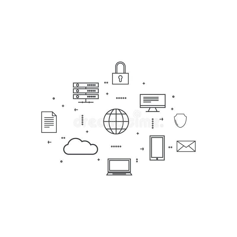 Netzwolkendatenverarbeitung lizenzfreie abbildung