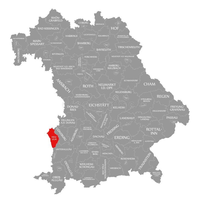 Neu-Ulm okręgu administracyjnego czerwień podkreślająca w mapie Bavaria Niemcy royalty ilustracja