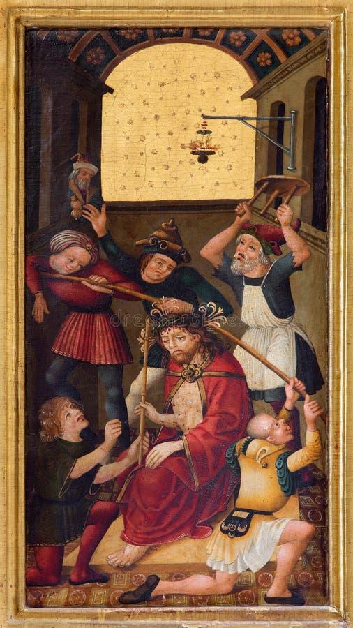 Neuberg un der Muraz - la pintura de la coronación con las espinas en el altar lateral de los Dom góticos del artista desconocido fotos de archivo libres de regalías