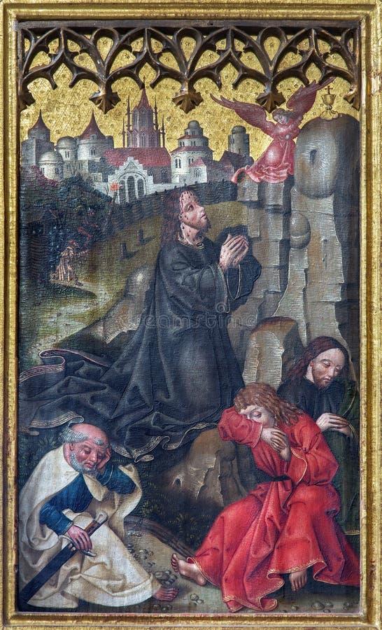 Neuberg un der Muraz - pintura del rezo de Jesús en el jardín de Gethsemane en el altar lateral de los Dom góticos del artista de fotografía de archivo