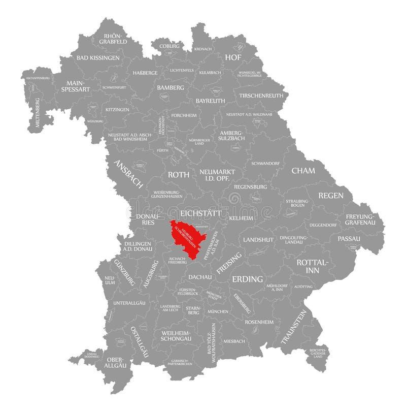 Neuburg-Schrobenhausen okręgu administracyjnego czerwień podkreślająca w mapie Bavaria Niemcy ilustracji