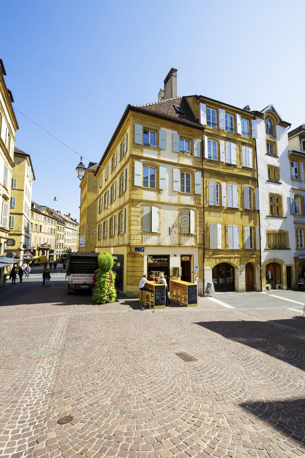 Neuchatel, historical buildings at a square royalty free stock photo