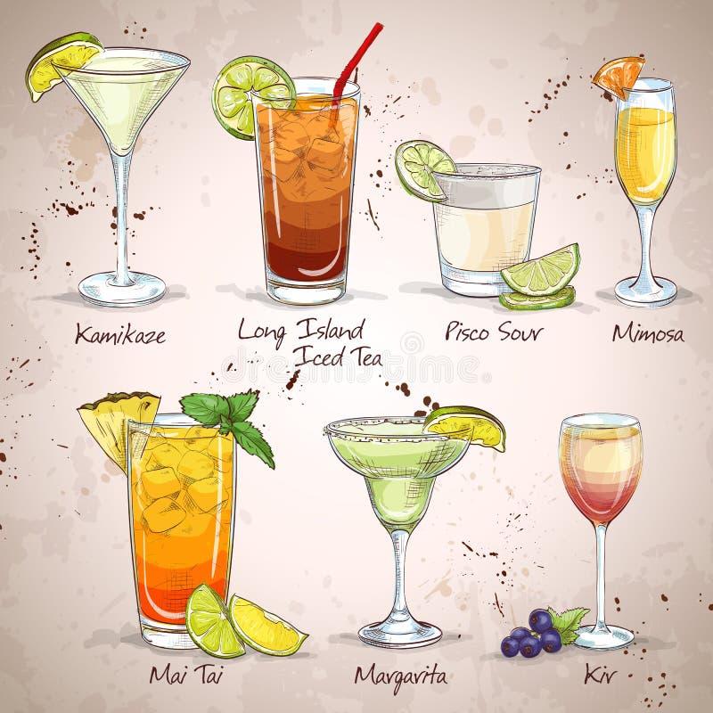 Neue Ära trinkt Cocktail-Satz lizenzfreie abbildung