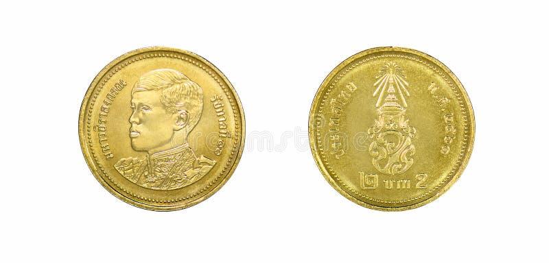 Neue Baht zwei, vorderer und Thailands Rückseite Münzen, stockfoto