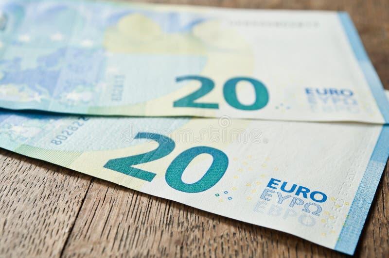 Neue Banknote von zwanzig Euros stockbild