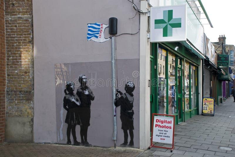 Neue Banksy Gestaltungsarbeit stockfotografie