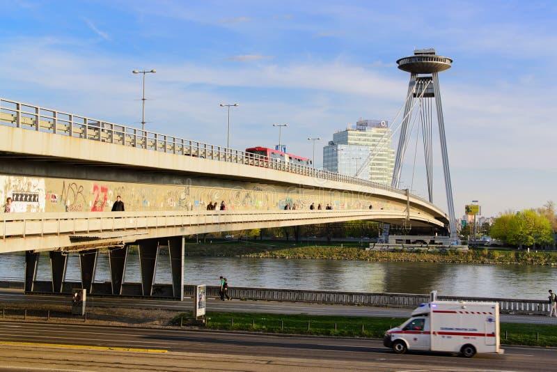 Neue Brücke von Bratislava lizenzfreies stockbild